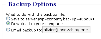 Plugin WordPress Backup Database : Options
