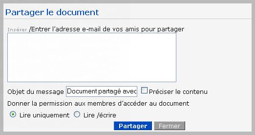 Zoho : Partage document formulaire
