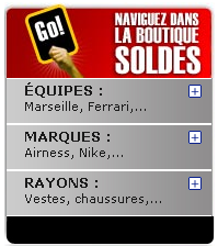 Ecommerce : Soldes - Made in sport : Menu navigation