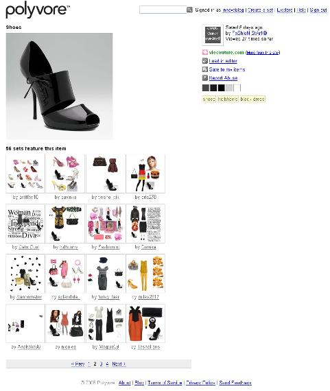 E-commerce Polyvore - Fiche produit