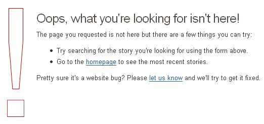 Page erreur 404 : Digg