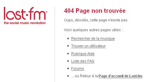 Page erreur 404 : Last.fm