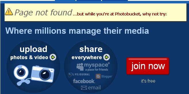 Page erreur 404 : Photobucket