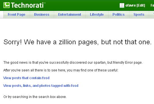 Page erreur 404 : Technorati