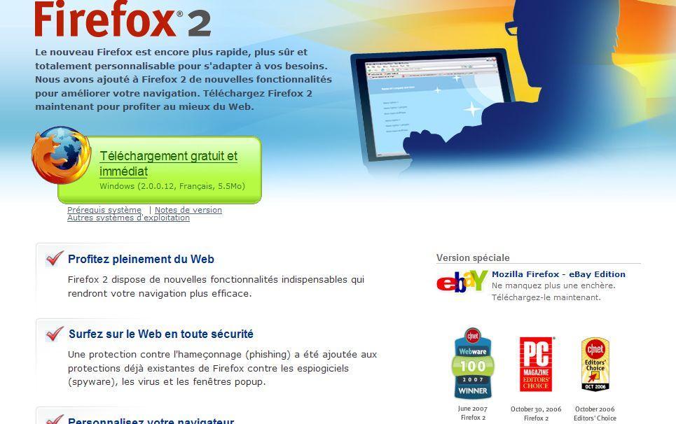 Page de téléchargement de Firefox