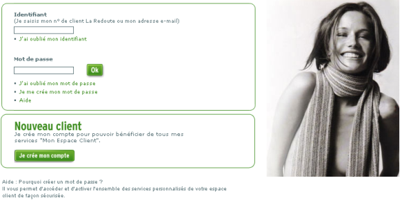 Checkout process : La Redoute, Identification