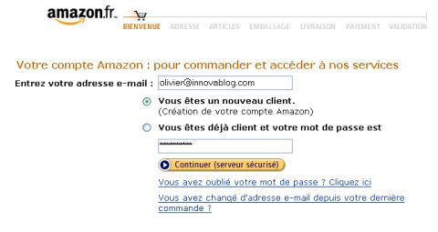 Checkout process : Amazon, login