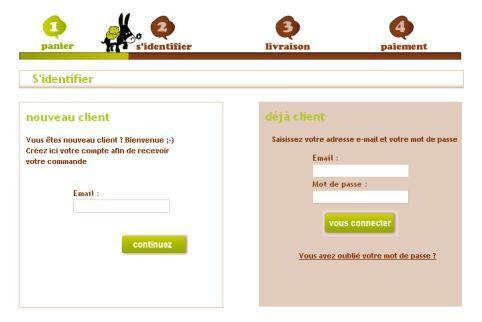 Checkout process : L'âne gourmet, Identification