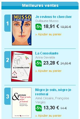 Ecommerce et Web 2.0 : best sellers chez Fnac