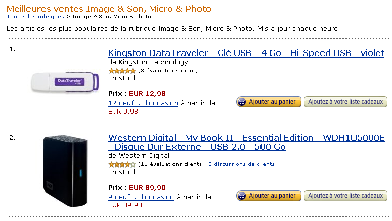 Ecommerce et Web 2.0 : best sellers chez Amazon
