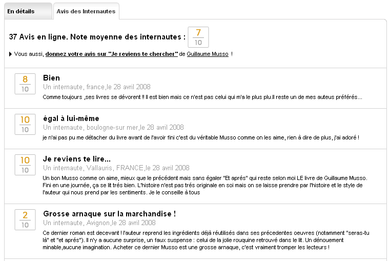 Ecommerce et Web 2.0 : user review chez Fnac