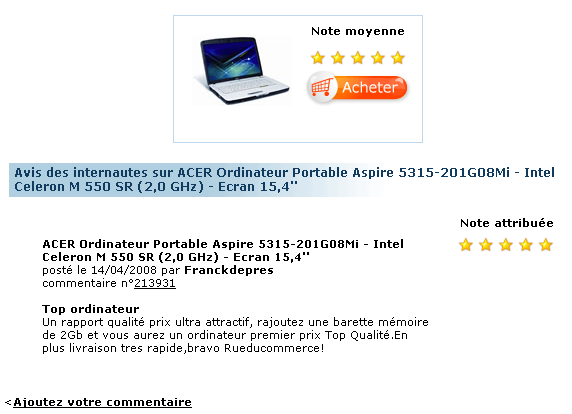 Ecommerce et Web 2.0 : user review chez Amazon