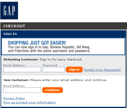 Email abandon panier : GAP