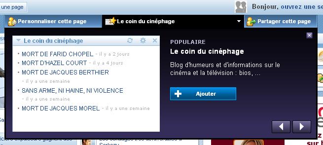 Menu riche : My Yahoo