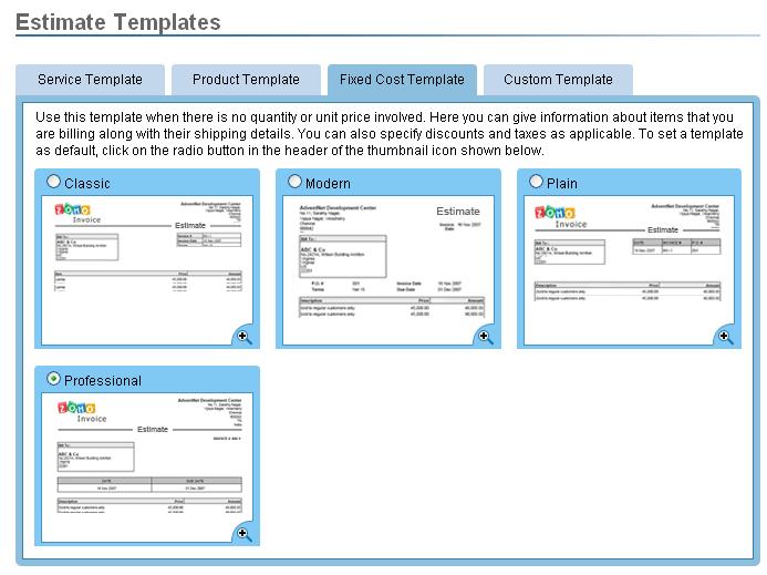 Zoho Invoice - Paramétrage des templates éditions