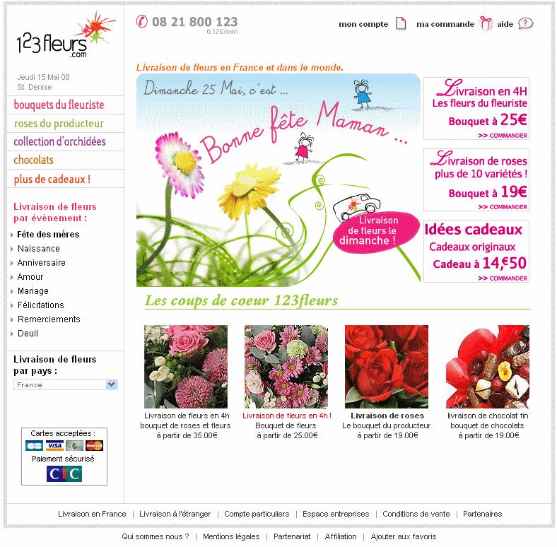 Fêtes des mères e-commerce 2008 : 123fleurs.com