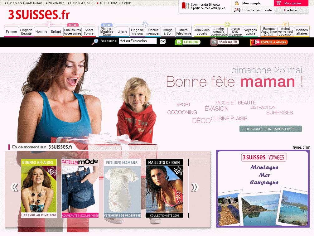 Fêtes des mères 2008 e-commerce : 3 Suisses