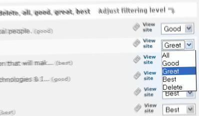 AideRSS : ajustement du niveau de filtre