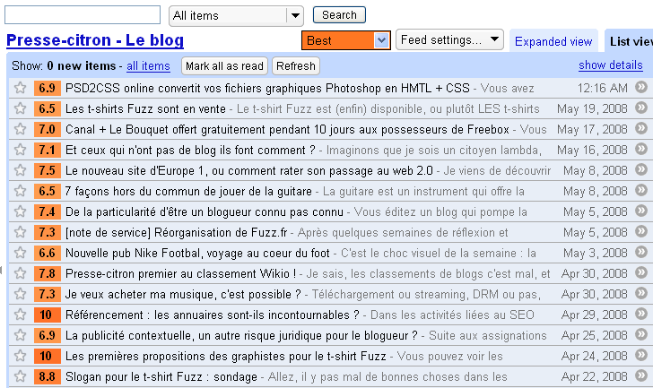 "AideRSS et son extension Firefox : je ne conserve que le ""Best"""