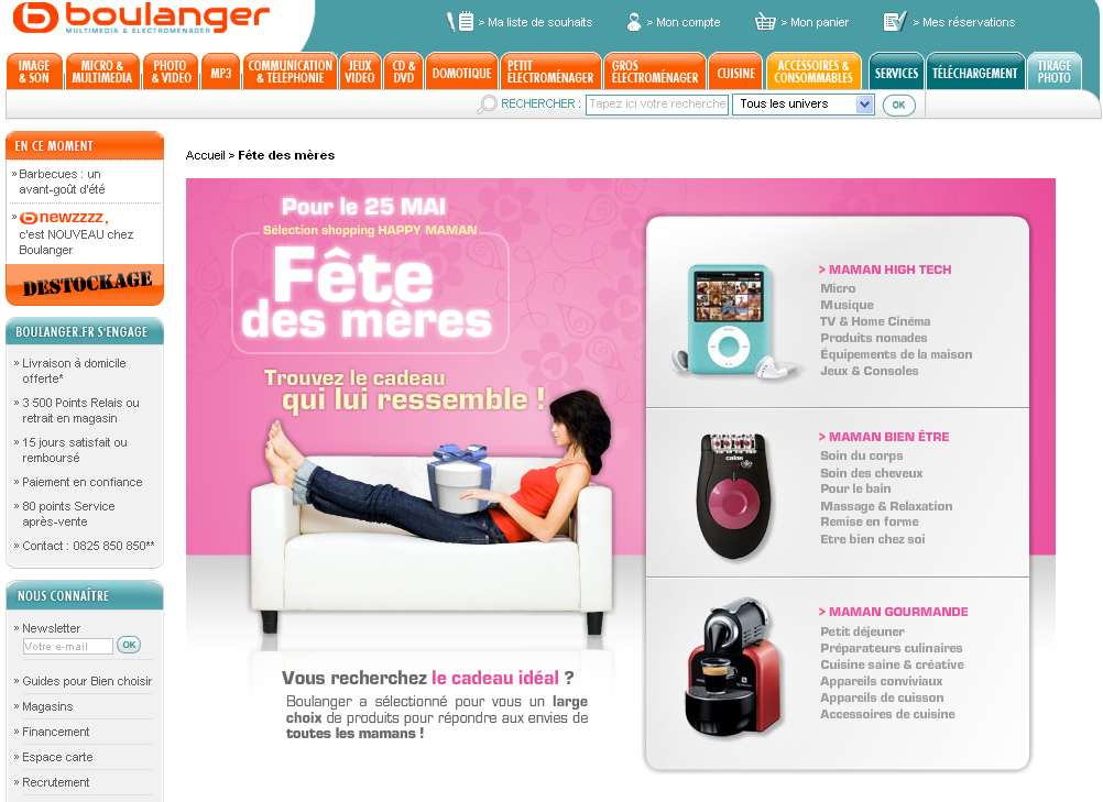 Fêtes des mères e-commerce 2008 : Boulanger.fr