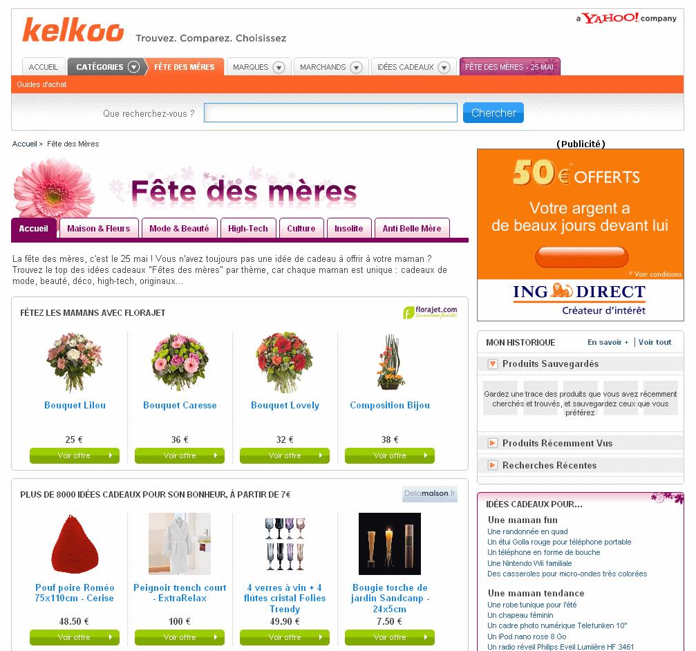 Fêtes des mères e-commerce 2008 : Kelkoo.com