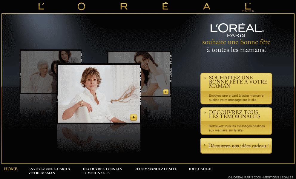 Fêtes des mères e-commerce 2008 : L'Oréal Paris