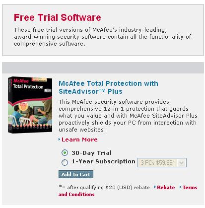 Le free trial de McAfee antivirus