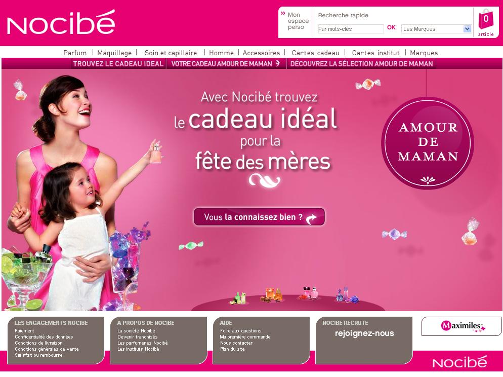 Fêtes des mères e-commerce 2008 : Nocibe.fr