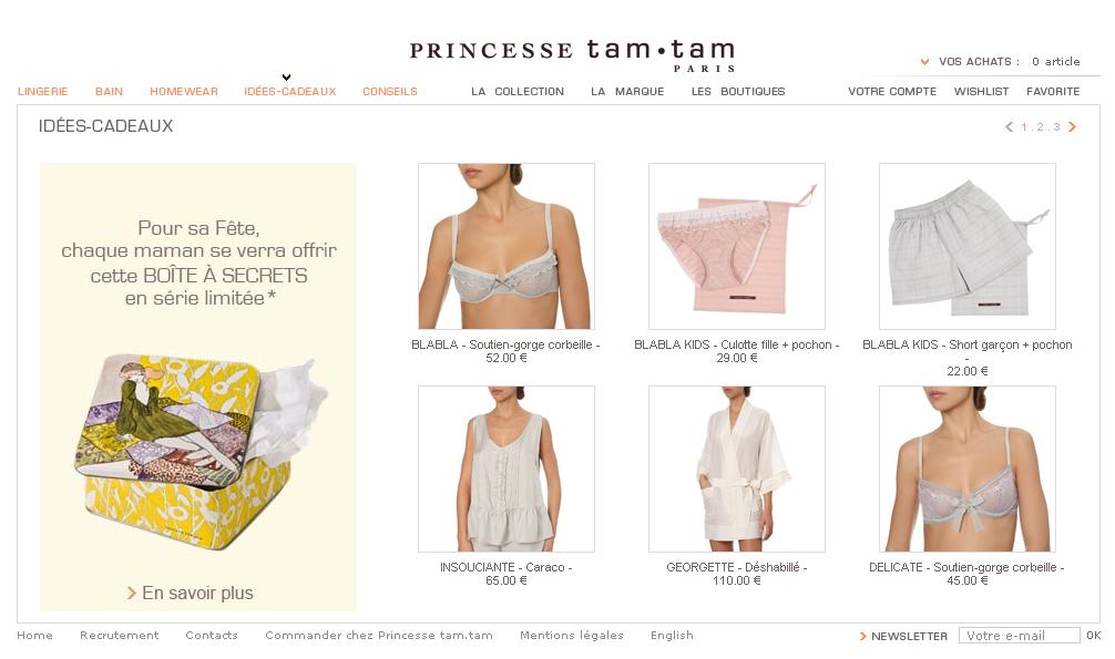 Fêtes des mères e-commerce 2008 : Princesse Tam Tam