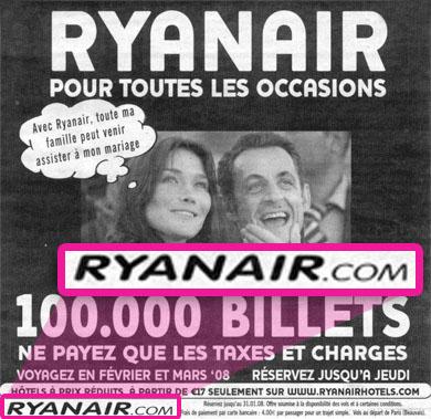Pub Sarkozy Bruni Ryanair