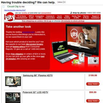 Remarketing email : exemple Circuit City