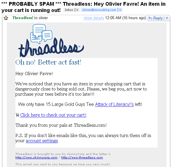Remarketing email stock Threadless