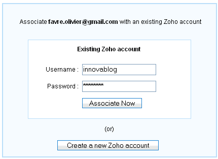 Zoho sign in : Google account association