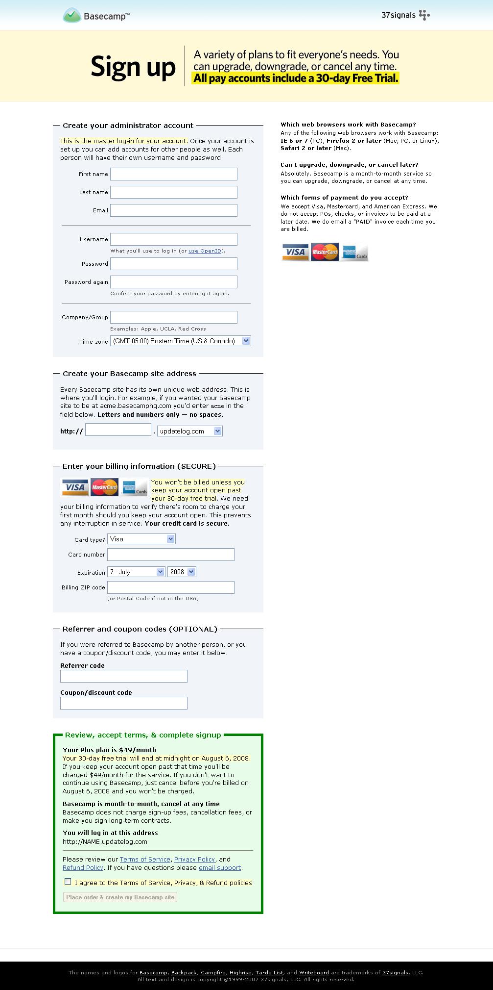 Formulaire web, login = email : Basecamp