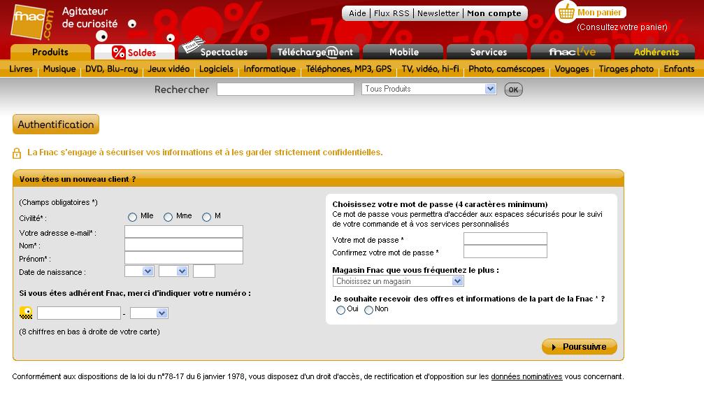 Formulaire web, login = email : FNAC