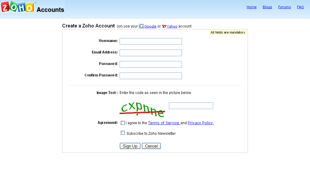 Formulaire web, login = email : Zoho