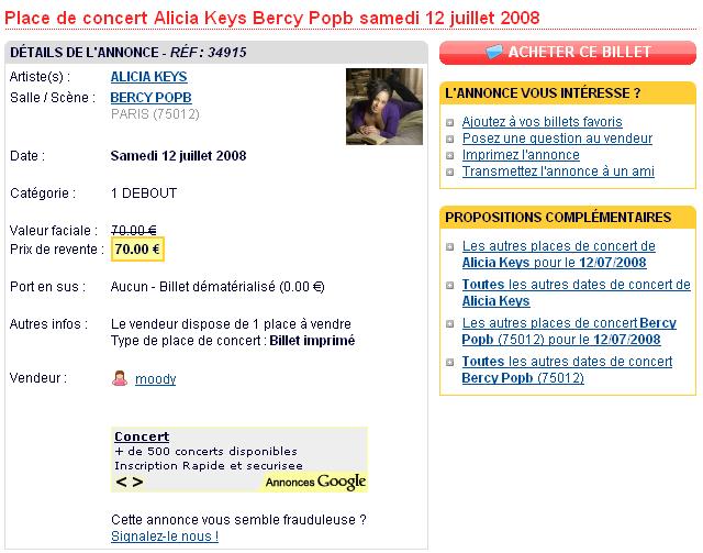 Fiche produit billet Alicia Keys