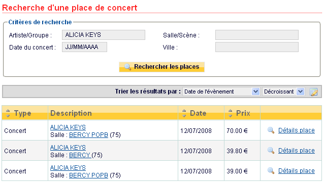 Recherche billet de concert : Alicia Keys
