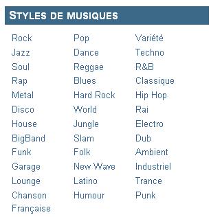 Akamusic, Styles de musiques