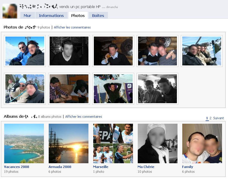 Facebook gestion photos Wordpress