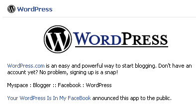 Application Wordpress Facebook