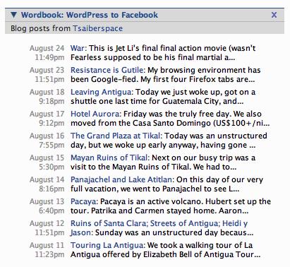 Wordbook : liste des billets publiés sur le profile Facebook