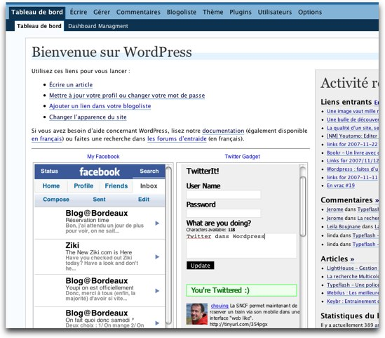 Wordpress dashboard Facebook